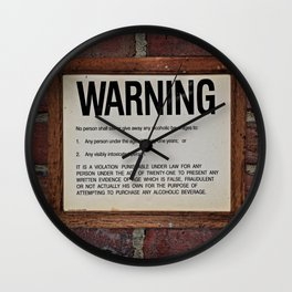 vintage warning sign Wall Clock