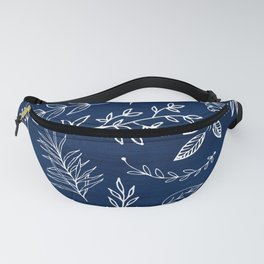 In The Wind - Blue and White Leaf Sketch Fanny Pack