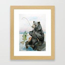 Black Bear catching a Bass Framed Art Print