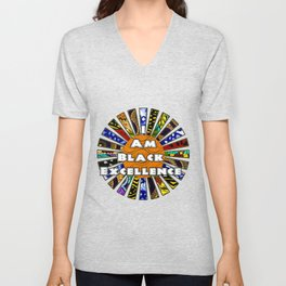 I am Black Excellence African Fabric Collage Unisex V-Neck