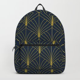 The Cat's Meow! Blue & Gold Art Deco Pattern Backpack