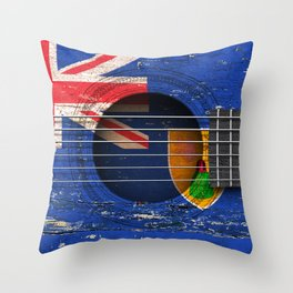 Old Vintage Acoustic Guitar with Turks and Caicos Flag Throw Pillow