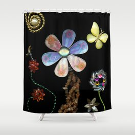 Happy Day in the Garden, Jewelry Scanography Shower Curtain