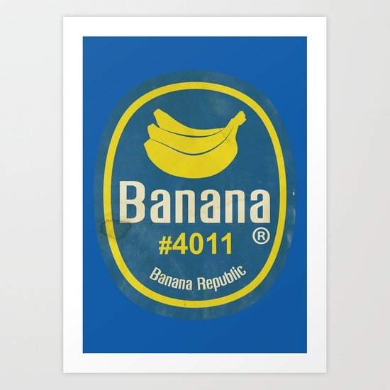 Banana Sticker On Blue Art Print