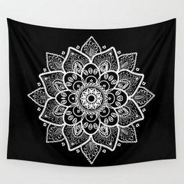 White Mandala On Black Wall Tapestry