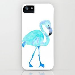 Aqua Watercolor Flamingo iPhone Case