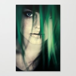 Girl In Leaves Canvas Print