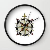 compass Wall Clocks featuring Compass by Indigo22