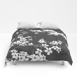 Little White Wildflowers Black and White Photography Comforters