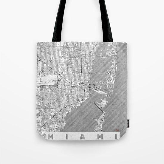 Miami Map Line Tote Bag
