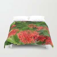 indonesia Duvet Covers featuring Flower (Bali, Indonesia) by Christian Haberäcker - acryl abstract