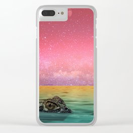 Tropical Croc Clear iPhone Case