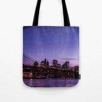brooklyn bridge Tote Bags featuring Brooklyn Bridge by hannes cmarits (hannes61)