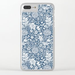 William Morris Navy Flower Field Pattern Clear iPhone Case