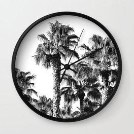 {2 of 2} Classic Palm Leaf Sky // Summer Black and White Palmtree Art Print Wall Clock