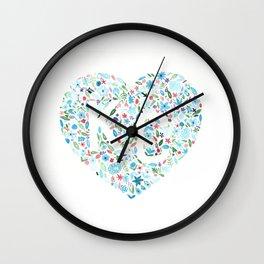 KC Heart Floral Watercolor Wall Clock