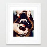 rottweiler Framed Art Prints featuring Rottweiler Teeth by Rassva