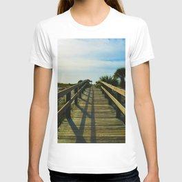 Boardwalk to the Beach on Little Gasparilla Island, Florida USA T-shirt