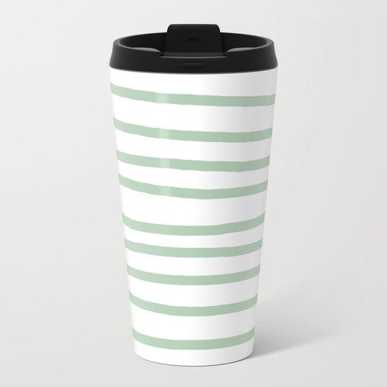 Simply Drawn Stripes Pastel Cactus Green and White Metal Travel Mug