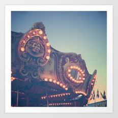 Twilight Carnival Ride Art Print