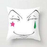 hunter x hunter Throw Pillows featuring Hisoka Face Hunter X Hunter by Prince Of Darkness