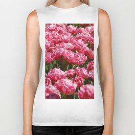 The field of pink tulips Biker Tank