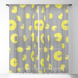 Yellow dotted pattern Sheer Curtain