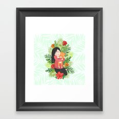 Girl and cat Framed Art Print