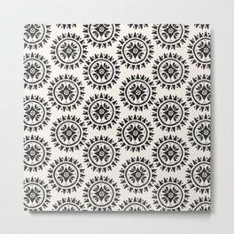 Bohemian Medallions - Dark gray and cream Pattern Metal Print