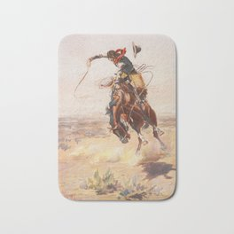 A Bad Hoss by Charles Marion Russell (c 1904) Bath Mat