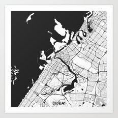Dubai City Map Gray Art Print