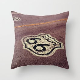 The mythical Route 66 sign in Texas, USA. Throw Pillow
