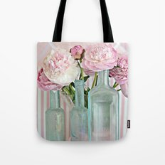 Peonies Shabby Chic Cottage Pink Aqua Peony Bottles Art Print Home Decor Tote Bag
