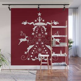 Retro damask christmas tree with text and reindeer Wall Mural
