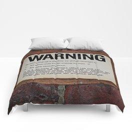 vintage warning sign Comforters