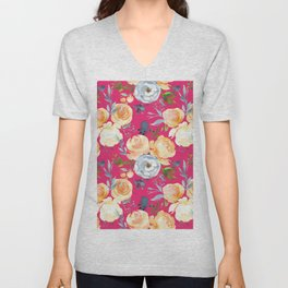 Girly pink teal orange yellow watercolor floral Unisex V-Neck