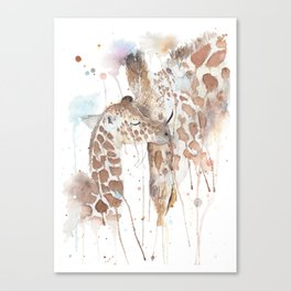 """Watercolor Painting of Picture """"Mother and Son"""" Canvas Print"""