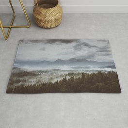 Misty mountains - Landscape and Nature Photography Rug