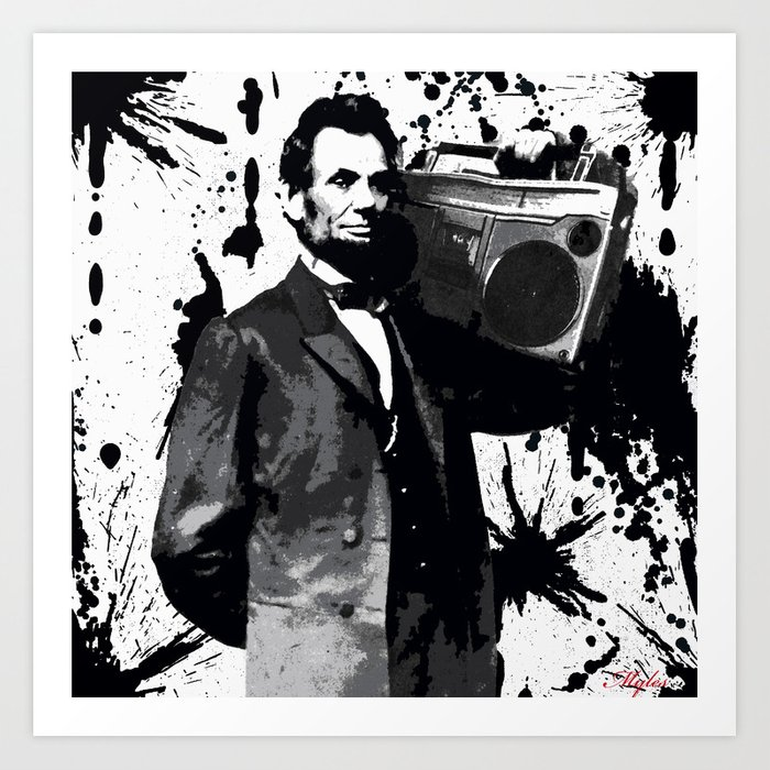 photo regarding Printable Pictures of Abraham Lincoln called ABRAHAM LINCOLN INK SPLASH Create New music NOT WAR Artwork Print