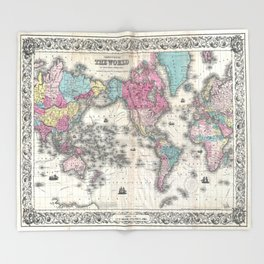 1852 J.H. Colton Map of the World Throw Blanket