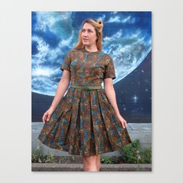 vintage 1950s dress mosaic print Canvas Print