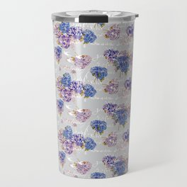 Hydrangeas and French Script with birds on gray background Travel Mug