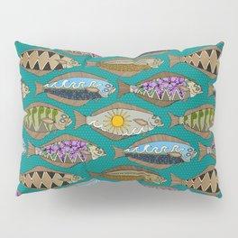 Alaskan halibut teal Pillow Sham