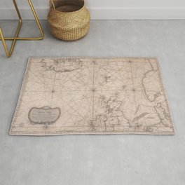 Portolan map of the North Sea, the Norwegian Sea with adjacent coast and countries 1768 Rug