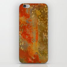 Ginkgo Leaves on Rust Background iPhone & iPod Skin