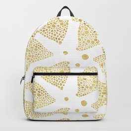 White & Gold Triangles Modern Pattern Backpack