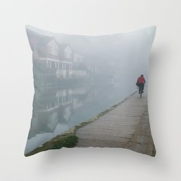 London Fog in Regents Canal by Diana Eastman Throw Pillow