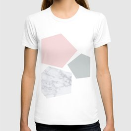 Blush, gray & marble geo T-shirt