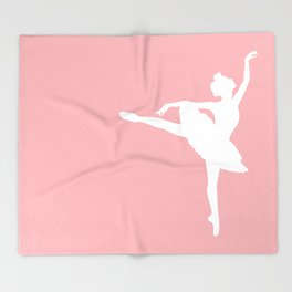Pink and white Ballerina Throw Blanket