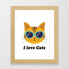 I love Cats Kitty Gift T-Shirt Framed Art Print
